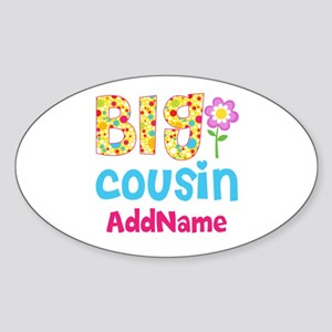 Big Cousin Floral Dots Personalized Sticker (Oval)