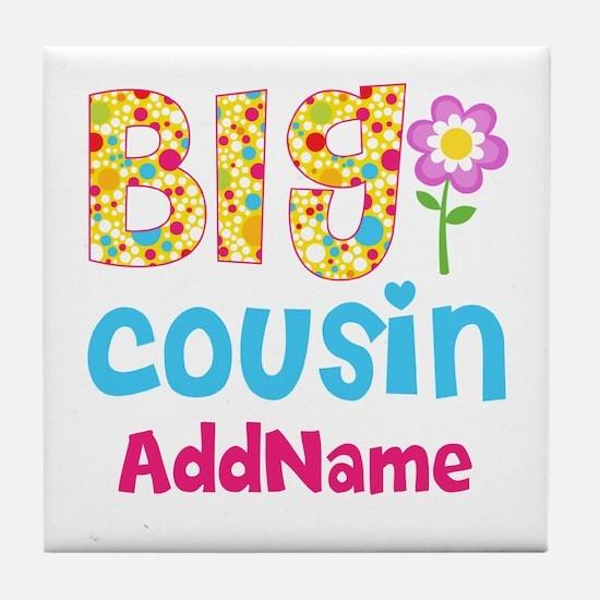 Big Cousin Floral Dots Personalized Tile Coaster