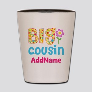 Big Cousin Floral Dots Personalized Shot Glass