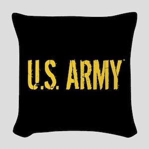 U.S. Army: Black & Gold Woven Throw Pillow