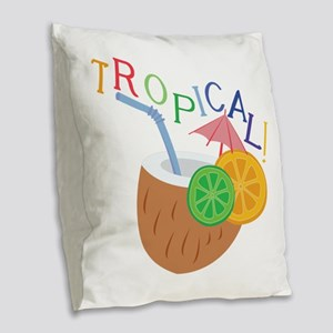 Tropical Burlap Throw Pillow