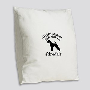 Sleep With Airedale Dog Design Burlap Throw Pillow