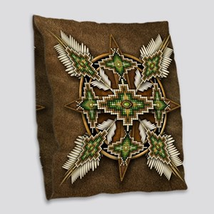 Native American Style Mandala Burlap Throw Pillow