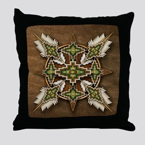 Native American Style Mandala 30 Throw Pillow