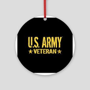 U.S. Army: Veteran (Gold Stars) Round Ornament
