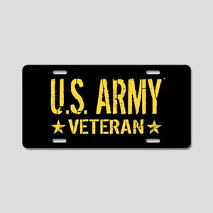 U.S. Army: Veteran (Gold St Aluminum License Plate