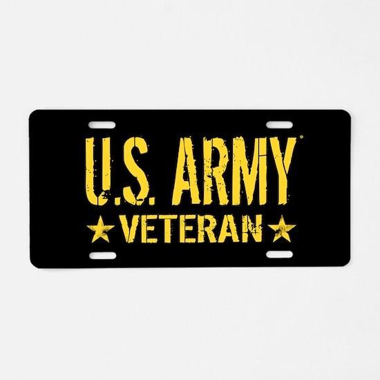 U.S. Army: Veteran (Gold St Aluminum License Plate