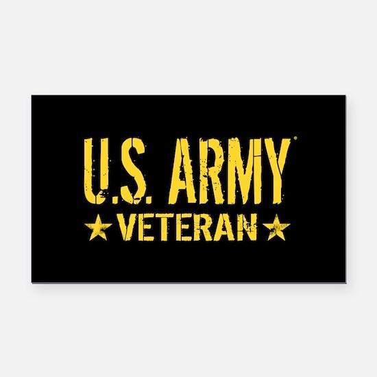 U.S. Army: Veteran (Gold Star Rectangle Car Magnet