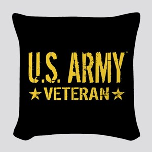 U.S. Army: Veteran (Gold Stars Woven Throw Pillow