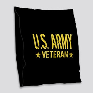 U.S. Army: Veteran (Gold Stars Burlap Throw Pillow