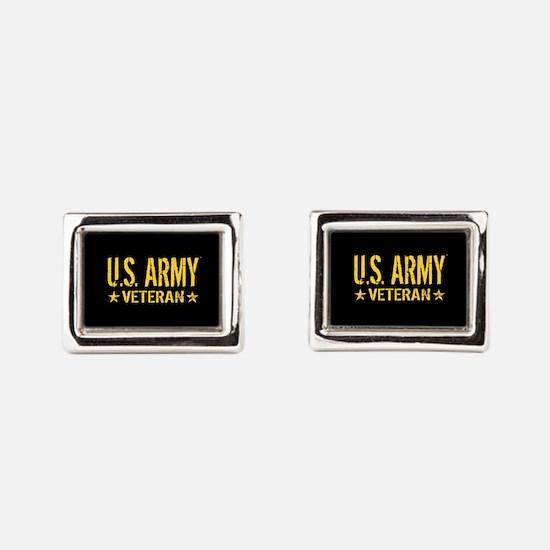 U.S. Army: Veteran (Gold Sta Rectangular Cufflinks