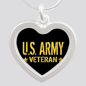U.S. Army: Veteran (Gold Sta Silver Heart Necklace