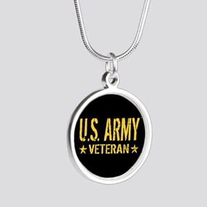 U.S. Army: Veteran (Gold Sta Silver Round Necklace