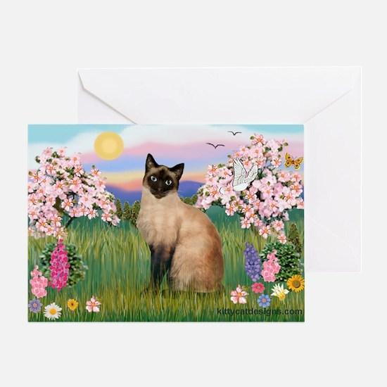 Siamese Spring Blossom Greeting Card