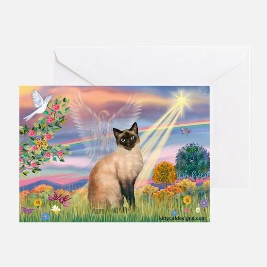 Cloud Angel & Siamese Greeting Card
