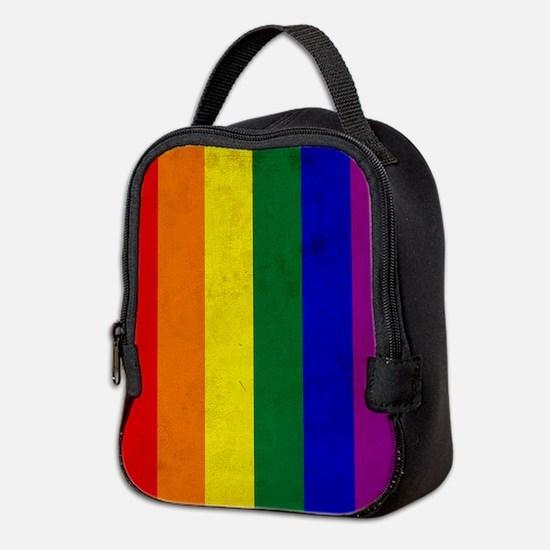 Vintage Rainbow Gay Pride Flag Neoprene Lunch Bag