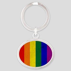 Vintage Rainbow Gay Pride Flag Oval Keychain