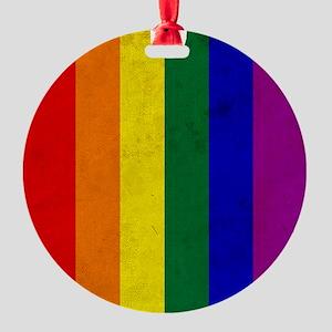 Vintage Rainbow Gay Pride Flag Round Ornament
