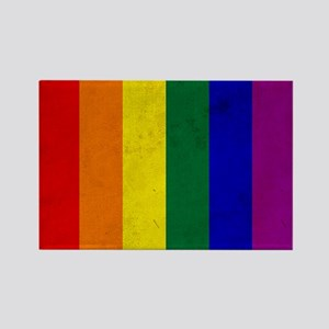 Vintage Rainbow Gay Pr Rectangle Magnet (100 pack)