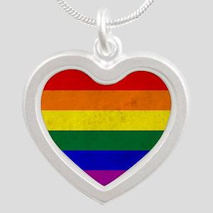 Vintage Rainbow Gay Pride Fl Silver Heart Necklace