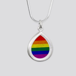 Vintage Rainbow Gay Prid Silver Teardrop Necklace