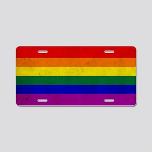 Vintage Rainbow Gay Pride F Aluminum License Plate
