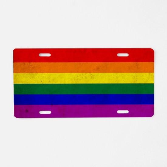 Vintage Rainbow Gay Pride F Aluminum License Plate