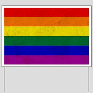 Vintage Rainbow Gay Pride Flag Yard Sign