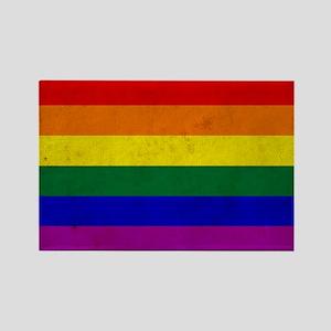 Vintage Rainbow Gay Pride Flag Rectangle Magnet
