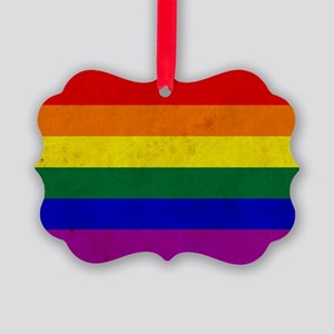 Vintage Rainbow Gay Pride Flag Picture Ornament