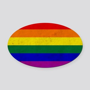 Vintage Rainbow Gay Pride Flag Oval Car Magnet