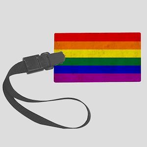 Vintage Rainbow Gay Pride Flag Large Luggage Tag