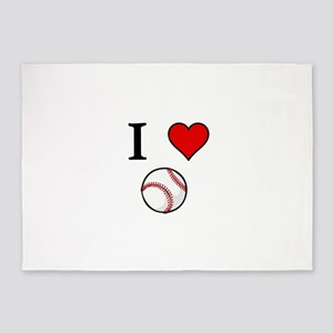 I Love Baseball 5'x7'Area Rug