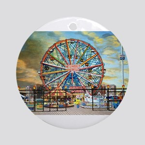 Wonder Wheel Park (round) Round Ornament