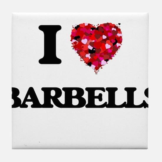 I Love Barbells Tile Coaster