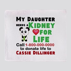 Personalize, Kidney Donation Throw Blanket