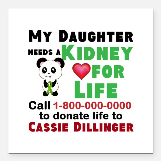 "Personalize, Kidney Dona Square Car Magnet 3"" x 3"""