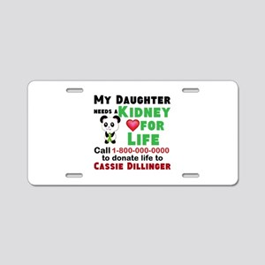 Personalize, Kidney Donatio Aluminum License Plate