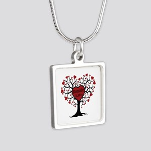 Donate Life Tree Silver Square Necklace