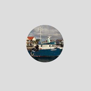 Blue & white fishing boat, Port Licoln Mini Button