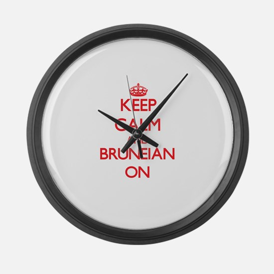 Keep Calm and Bruneian ON Large Wall Clock