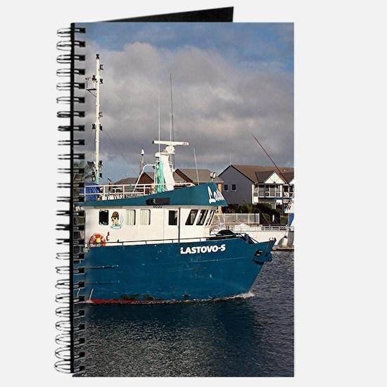 Blue & white fishing boat, Port Licoln Journal