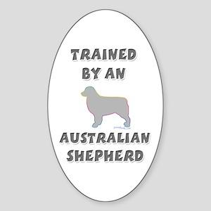 Aussie Shepherd Slvr Oval Sticker
