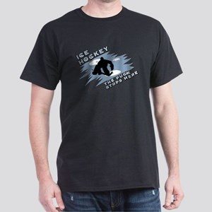 Hockey puck stops here Dark T-Shirt
