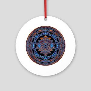Lakshmi Yantra Mandala- Lapis Ornament (Round)
