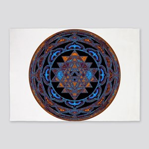 Lakshmi Yantra Mandala- Lapis 5'x7'Area Rug