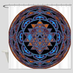 Lakshmi Yantra Mandala- Lapis Shower Curtain