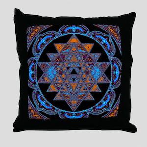 Lakshmi Yantra Mandala- Lapis Throw Pillow