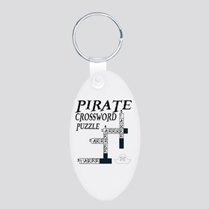 PIRATE CROSSWORD PUZZLE Aluminum Oval Keychain