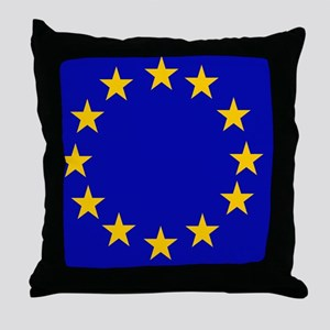Square European Union Flag Throw Pillow